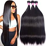 Brazilian Human Hair Bundles Straight 10A Remy Human Hair 3 Bundles 12' 14' 16' Unprocessed Virgin Brazilian Straight Hair Extensions Grace Length Mink Human Hair Weave Bundles