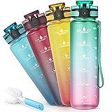 Sahara Sailor Botella Agua,1000ml Botella Agua Deporte, Botella Agua Motivacional, Sin BPA & Prueba de Fugas, para Deporte, Gimnasio, Running, Niños (Rosa)