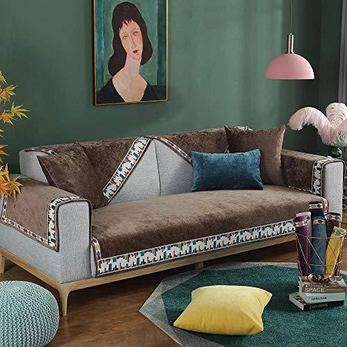 YUTJK Fundas de sofá Cama de Chenilla,Funda Chaise Longue Lavable Protector para Sofás,Toalla De Sofá Cuatro Estaciones,Antideslizante Funda De Sofá,para sofás de Cuero,marrón