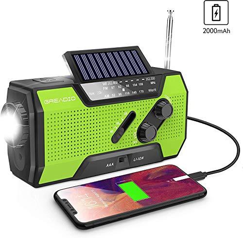 Wind Up Radio, Emergency Weather Solar Crank AM/FM NOAA Radio with Portable...