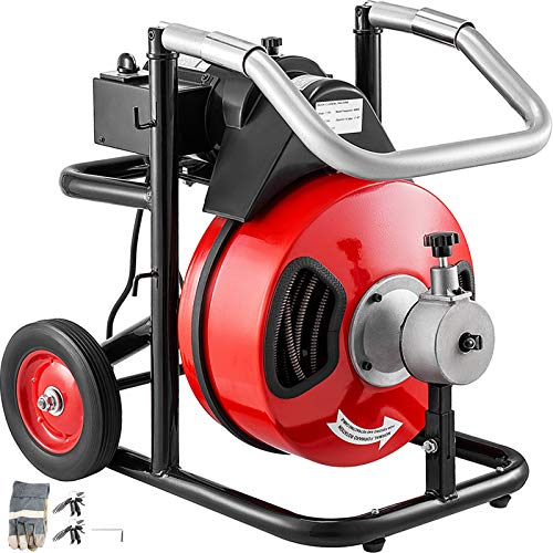 """VEVOR Sewer Snake Drill Drain Auger Cleaner 100 Ft Long 3/8'' Wide Electric Drain Cleaning Machine 4 Cutter & Foot Switch Drain Cleaner Drum Auger Snake for 1-1/4"""" to 4"""" Pipes (100 Ft x 3/8 Inch)"""