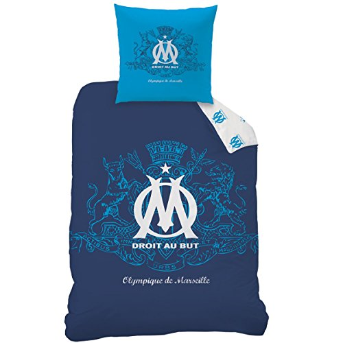 CTI 043739 OM Blason Bettbezug 140x 200cm + Kopfkissenbezüge 63x 63cm, Polyester/Baumwolle, Blau