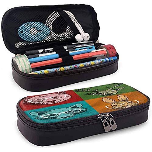 Estuche para lápices, Estuche para cosméticos, Lápiz Case, estudiantes de gran capacidad papelería cabina animal caras con gafas 20 cm * 9 cm * 4 cm