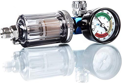 BenBow Luftdruckregler mit Manometer und Öl-Wasser-Abscheider Filter für Lackierpistolen Pneumatische Spritzpistole Messgerät Druckminderer Separator Tool