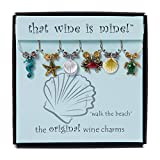 Wine Things Walk the Beach, Painted Wine Charms, Fits neatly around stem, Multicolor