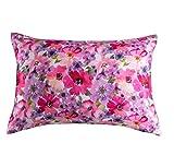 Damier - Federa per cuscino in raso rosa, 40 x 80 cm, confezione doppia