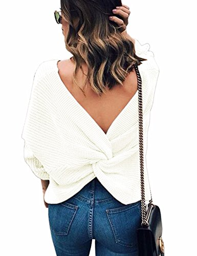 Sexyshine Women's Casual V Neck Criss Cross Backless Long Batwing Sleeve Loose Knitted Sweater Pullovers,White
