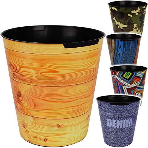 4 Stück _ Papierkörbe / Behälter - Motiv-Mix - Strukturen & Musterungen - 10 Liter - wasserdicht - aus Kunststoff - Ø 28 cm - großer Mülleimer / Eimer - Abfal..