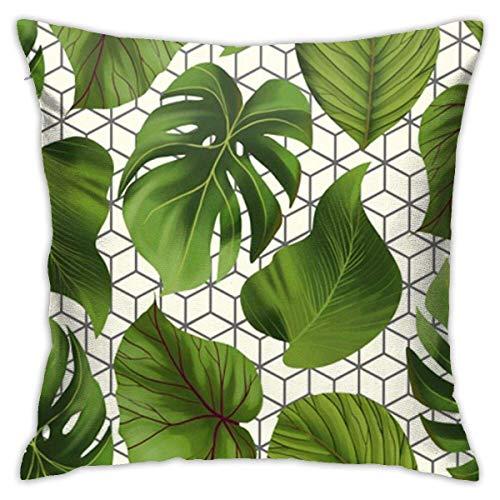 maichengxuan Funda de almohada de verano con hojas geométricas tropicales, fundas de almohada, fundas de almohada de suelo, fundas de cojín, fundas de respaldo de coche