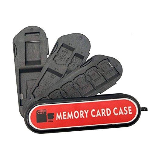 Speicherkarten-Etui, LXH Speicherkartenhalter SD-Kartenhalter, Kamerakartenhalter mit Karabiner - Schweizer Taschenmesser-Design mit 3 Speicherklingen (12 Steckplätze)