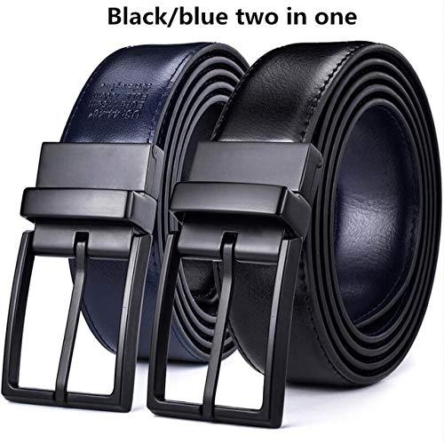 GAODAYU Gürtel Wendegürtel Herren Ledergürtel Ledergürtel schwarz 0440BK,Kou,BK Blau, 110 cm (Taille 95 cm)
