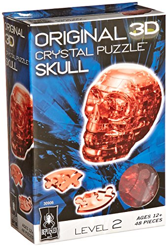 BePuzzled Original 3D Crystal Jigsaw Puzzle - Skull DIY Assembly Brain Teaser, Fun Model Toy Gift Decoration for Adults & Kids Age 12 and Up, Red, 48 Pieces (Level 2)