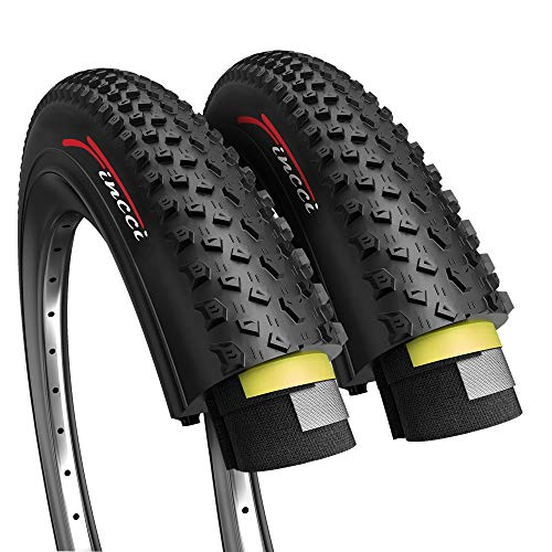 Fincci Pair 26 x 2.10 Inch 54-559 ETRTO Foldable 60 TPI XC Cross Country Tires with Nylon Protection for MTB Hybrid Bike Bicycle - Pack of 2