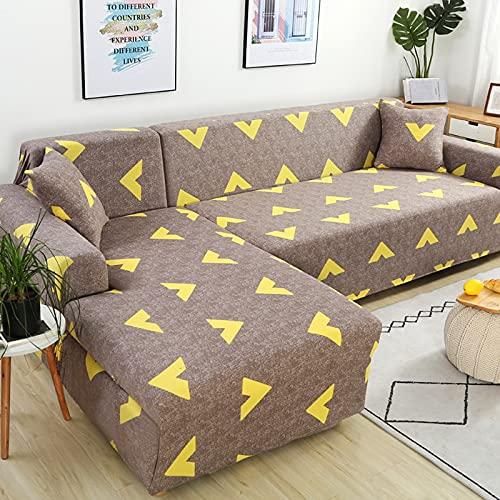 ASCV Sectional Elastic Stretch Sofabezug für Wohnzimmer Couchbezug L-Form Sesselbezug Home Decor A24 2-Sitzer