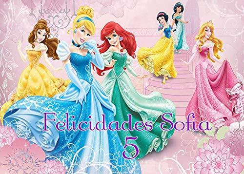 OBLEA de Princesas Disney Personalizada con Nombre y Edad para Pastel o Tarta, Especial para cumpleaños, Medida Rectangular de 28x20cm