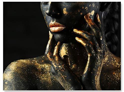 wandmotiv24 Leinwand-Bild Gold Collection, Größe 120x90cm, Querformat, Frau in Schwarz mit Goldener Farbe, Kontrast, Top-Model, Makeup, Glitzer, Glitter, Wand-Bilder, Dekoration Wohnung modern M0172