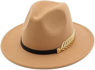 Vim Tree Women's Wide Brim Fedora Panama Hat with Metal Belt Buckle