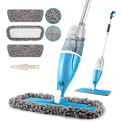 Microfiber Spray Floor Mops for Floors Cleaning, POPTEN 360 Degree Cleaning Kitchen Mop with 640ML Refillable Bottle,3 Washable Mop Pads and 1 Scraper Dust Mop Wet Mop for Laminate,Hardwood,Ceramic