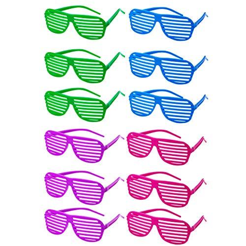 Pack of 12 Shutter Lens Glasses for 80s Dress-Up