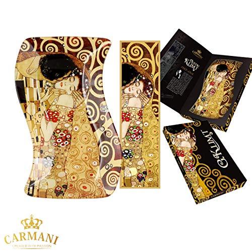 CARMANI - Assiette en verre décorative Rectangle ondulé, plat de fete, noix, assiette de service imprimée avec la peinture «Le baiser» de Gustav Klimt 18x12.7cm