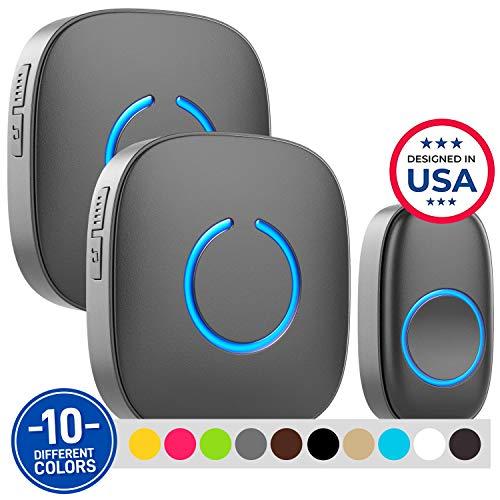 Wireless Doorbell by SadoTech – Waterproof Door Bells & Chimes Wireless Kit – Over 1000-Foot Range, 52 Door Bell Chime, 4 Volume Levels, LED Flash – Wireless Doorbells for Home – Model CXR (MBlack)