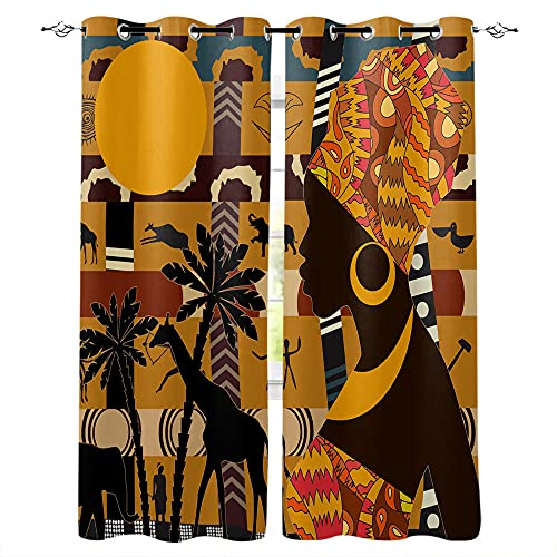 MXYHDZ Blackout Curtains for Bedroom - Yellow Trees Animals Woman - 3D Print Pattern Eyelet Thermal Insulated - 72 x 63 Inch Drop - 90% Blackout Curtains for Kids Boys Girls Playroom