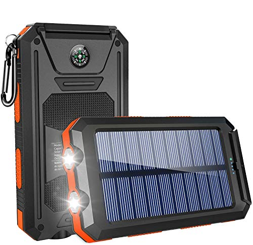 GRDE Solar Charger,10000mAh Solar Power Bank Portable External Backup Battery Pack Dual USB Solar Phone Charger