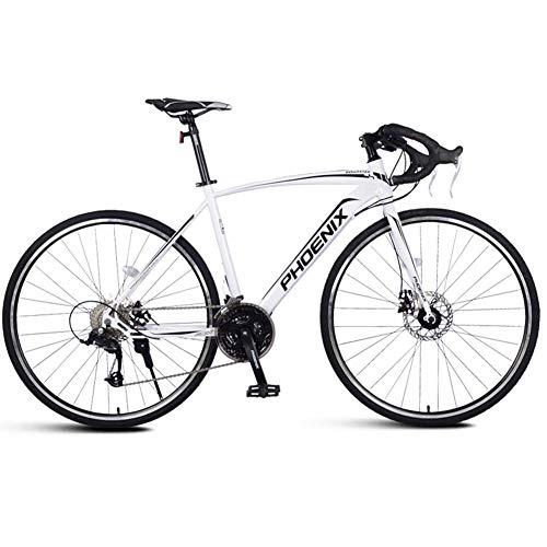 DJYD Adult Rennrad, Männer Rennrad mit Doppelscheibenbremse, High-Carbon Stahlrahmen-Straßen-Fahrrad, Stadt-Dienstprogramm Fahrrad, Blau, 21 Geschwindigkeit FDWFN (Color : White, Size : 21 Speed)