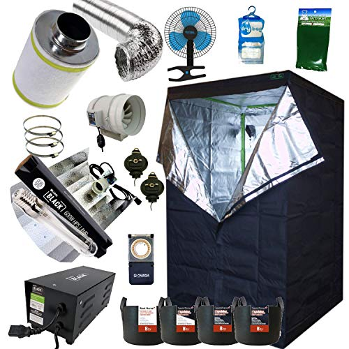Best Complete Grow Room Full Setup 1.2 x 1.2 x 2m Grow Tent 5' In-Line Fan, Carbon Filter 600w PRO Light Kit Hydroponics