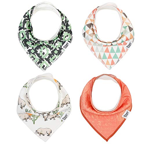 """Baby Bandana Drool Bibs for Boys and Girls, 4-Pack Soft & Super Absorbent Baby Bibs for Drooling and Teething by Harmonybebe, """"Camouflage Summer with Colorful Flags"""""""