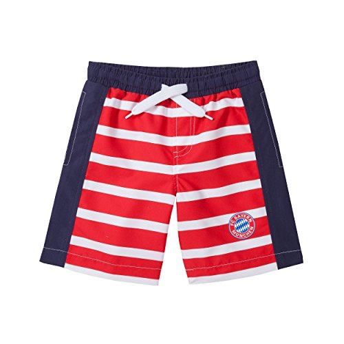 FC Bayern München Badeshorts Kids Streifen kompatibel + Sticker, Badehose/Bathing Shorts/Pantalones Cortos de baño/Shorts de bain, Munich 21445 (92)