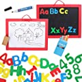 Kraftic Letters and Numbers with Board for Kids - 62 Pieces Alphabet Magnets, Dry Erase Board, Whiteboard and Chalkboard for Toddlers Writing