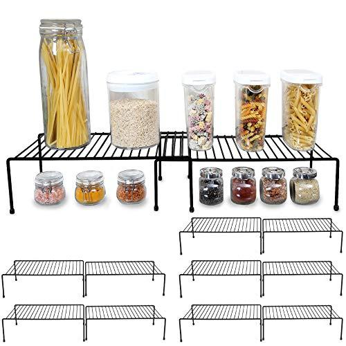 Smart Design Cabinet Storage Shelf Rack - Large Expandable (10 x 32.5 Inch) - Steel Metal Wire - Cupboard, Plate, Dish, Counter & Pantry Organizer Organization - Kitchen [Black] - Set of 6