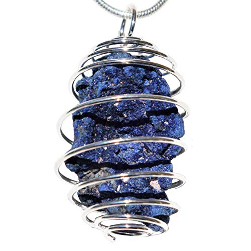 Zenergy Gems Charged Natural Moroccan Azurite Specimen Crystal Pendant + 20' Silver Plated Chain + Selenite Charging Heart [Included]