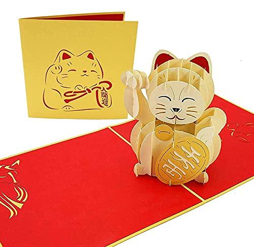 PopLife Cards Maneki-neko glückliche Katze Popup Grußkarte traditionelle japanische Reichtum Dekoration, einladende Kattun Falten flach für Mailing Geburtstag, gesund werden, Abschluss, Jubiläum, nur