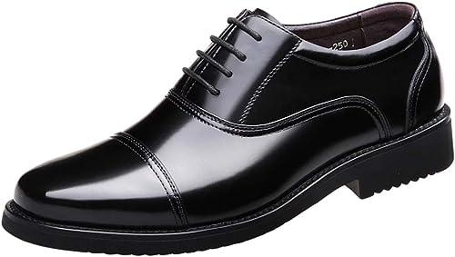 Hommes Décontracté Décontracté Smart Noir en Cuir Doux Chaussures à Lacets Confortable Oxford Chaussures Formelles Chaussures De Travail Et De Porter des Souliers Plates Militaires  bonnes offres