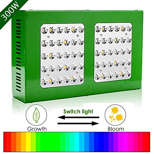 Hengda Lámpara LED para plantas, espectro total, luz para plantas, interruptor doble, serie 3, modos de luz para plantas de interior, 300 W, 60 ledes