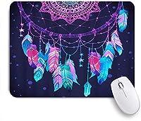 GUVICINIR マウスパッド 個性的 おしゃれ 柔軟 かわいい ゴム製裏面 ゲーミングマウスパッド PC ノートパソコン オフィス用 デスクマット 滑り止め 耐久性が良い おもしろいパターン (ドリームキャッチャー装飾的なインドのネイティブボヘミアンスタイルの部族自由奔放に生きる羽)