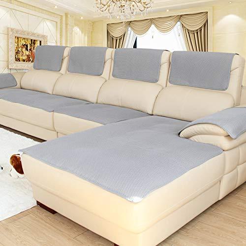 CClz Anti-rutsch Atmungsaktive Sofabezug Für Haustiere Hund, Sommer Sectional Sofa Sofa Überwurf Für Ledersofa Schmutzabweisend Möbel Protector-grau 60x150cm(24x59inch)