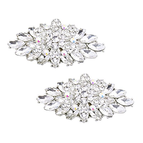 Elegantpark BD 2 Stück Schuhclips doppelte Schichten Rhinestones Hochzeitsfest Accessiories Silber