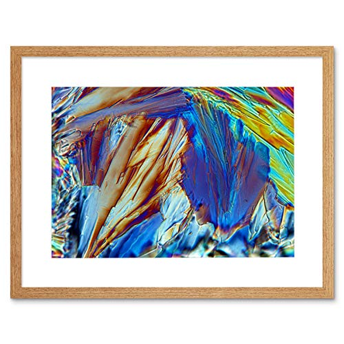 Abstract Glucose Crystal Electron Microscope Art Print Light Oak Framed Poster Wall Decor 9x7 inch