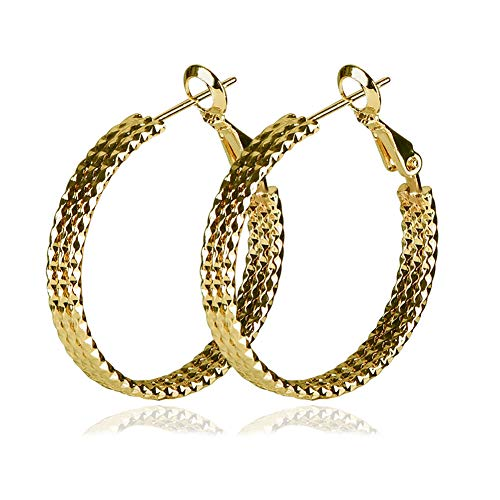 Yumay 9ct Gold Hoop 3-layers Earrings Made with Diamond Cut for Women(30MM).