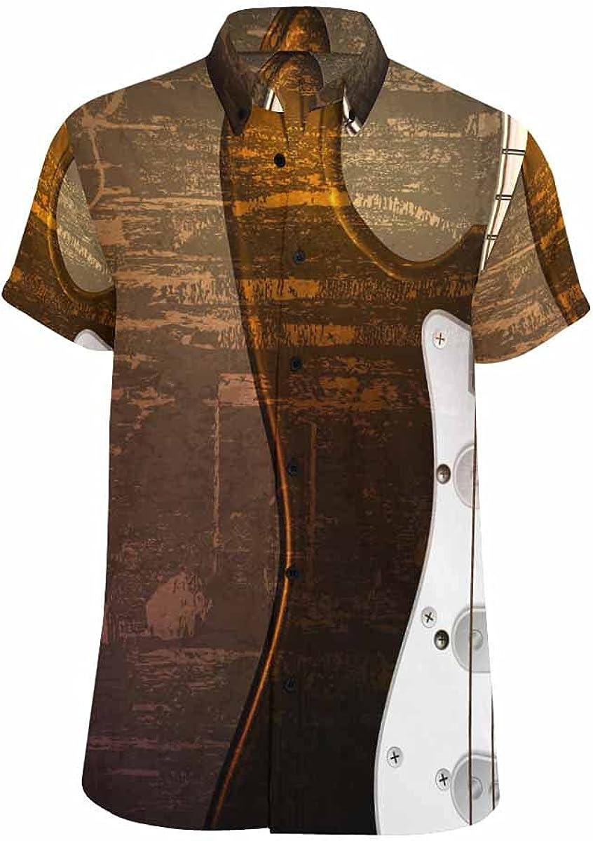 InterestPrint Bright Colored Geometric Skull Casual Spread Collar Tops Standard Fit Summer Shirt for Men