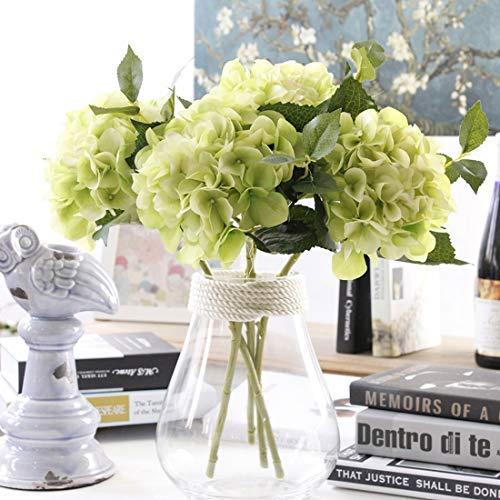 Famibay 3 Pcs Hortensie Künstliche Blumen Die Seide Blumen für Hochzeit Party Büro(Grün)