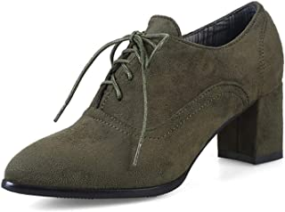 Judy Bacon Women's Suede Lace Up Oxford Pumps Pointed Toe Platform Chunky Mid Heel Casual Dress Oxfords Shoes Army Green