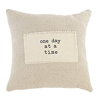 Mud Pie 4165059D Linen Off-White 9  Decorative Pillow - One Day At A Time