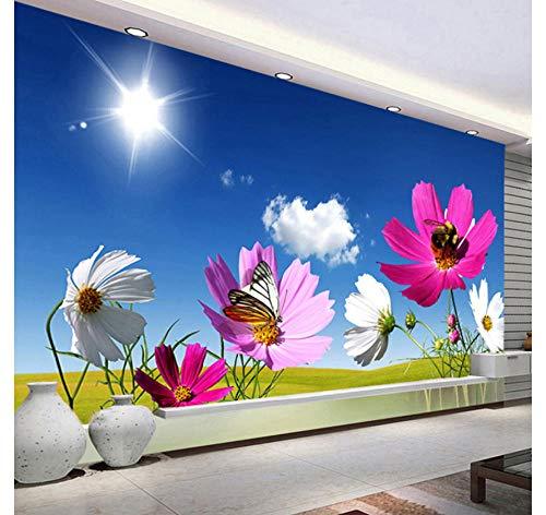 Blauwe hemel bloem vlinder muurschildering behang 3D patroon Home woonkamer kinderkamer club decoratie kunst afneembare sticker papier foto muursticker (W)500X(H)320cm