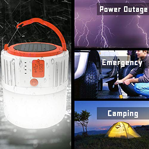 Camping Lights, Charging/Solar LED Lantern, Four Level Power Display, 5 Lighting Modes, IPX4 Waterproof, USB Emergency Equipment Charging, Lanterns For Power Outages, Hiking, Fishing, Camping(2 Pack)