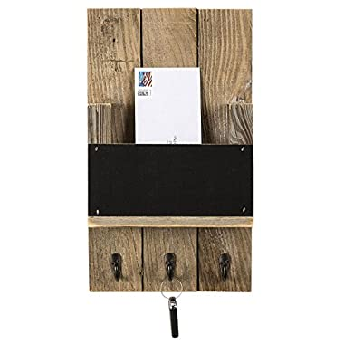 Mail Holder with Key Hooks and Chalkboard for Entry Way | Wall Mount | Handmade Rustic Reclaimed Wood | 18 x 10.5 Inch - Natural