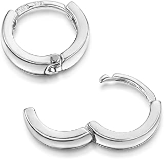 Amberta Fine 925 Sterling Silver Pair of Round Hinged Hoops - Sleeper Earrings